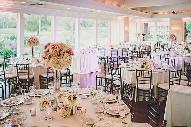 Classic and Romantic Wedding in California, Reception Space with Round Tables