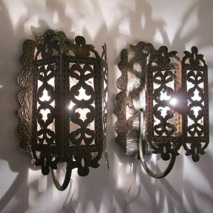 "lantern PUNCHED TIN SET 2 mexican handmade lamps folk art southwestern 24"""