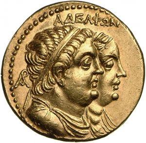 Octodracma - oro - Alessandria, Egitto (260-240 a.C.) - AΔEΛΦΩN busti drappegiati e diademati di Tolomeo II e Arsinoe II - Münzkabinett Berlin