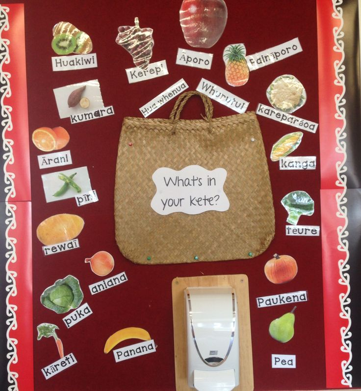 Te Reo display of Maori fruit and veges