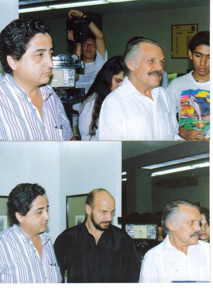 Con Jose Luis Cuevas, Rafa Cauduro y yo en el tecnológico de Monterrey en Cuernavaca.