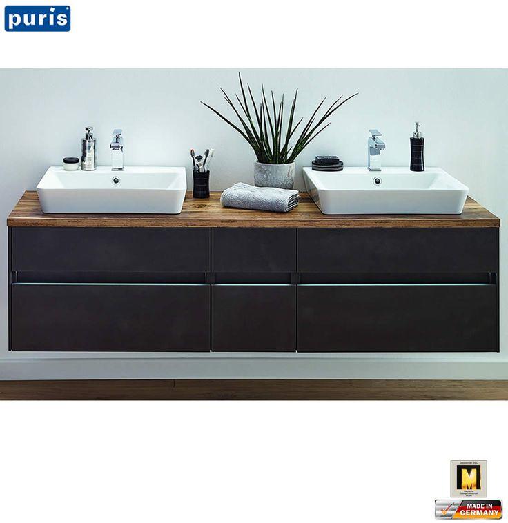 Puris UNIQUE Waschtisch Set 172 Cm Mit Keramik Aufsatz Waschtischen   Glasmosaik  Fliesen