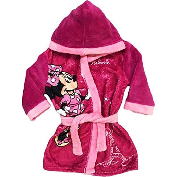 Disney Minnie Mouse Bademantel Kimono Gürtel Kapuze Morgenmantel pink #Bekleidu…