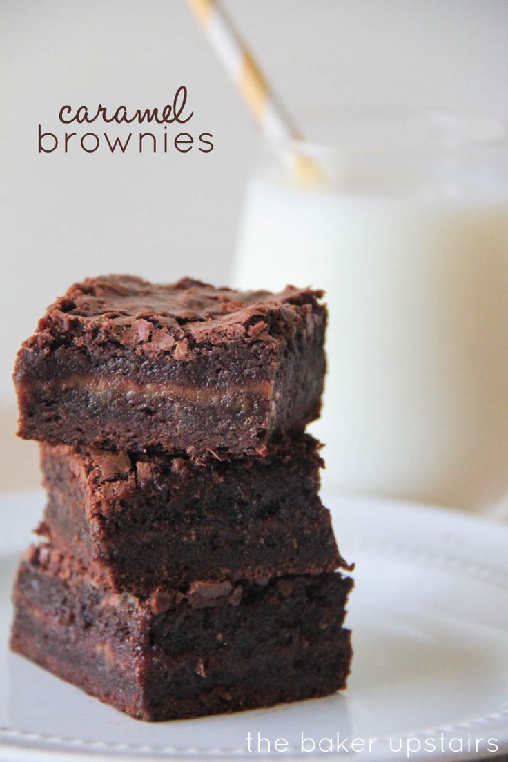 Caramel brownies from The Baker Upstairs. So luscious and delicious, with an amazing caramel layer. These brownies are to die for!   http://www.thebakerupstairs.com