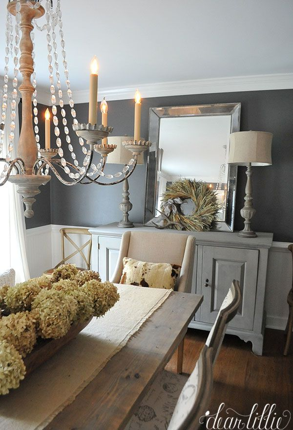 This Simple Wheat Wreath From Is The Perfect Soft And Subtle Autumn Touch  To This Gray Dining Room. LOVE The Room Color