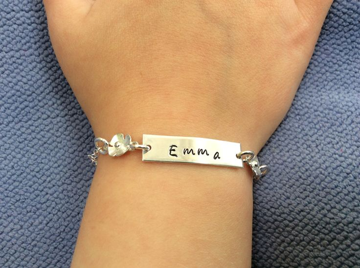 Sterling silver bracelet bar with personalised stamped name and birthstone