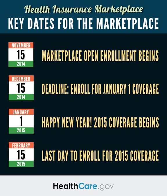 Oct 10, 2014 Via U.S. Department of Health and Human Services:  Are you ready to #GetCovered during next Health Insurance Marketplace Open Enrollment Period? Here are 4 key dates you should know. Learn more: http://1.usa.gov/1tJlbn4