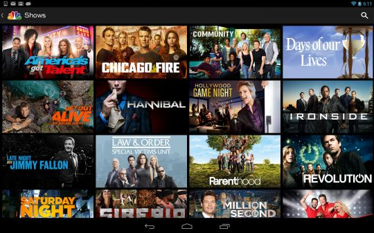 NBC app for Android released with free TV episode streaming