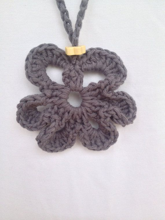 Crochet flower pendant handmade crochet necklace by PixiesFairies