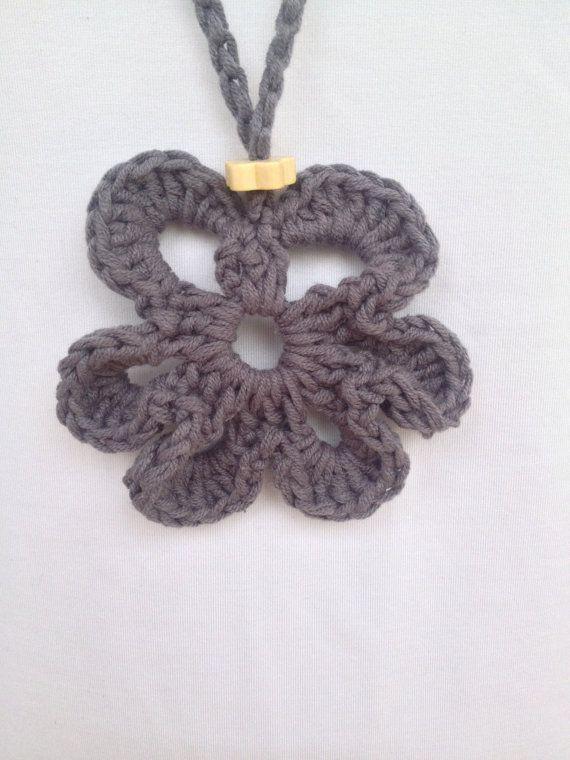 Crochet flower pendant handmade crochet necklace by PixiesFairies
