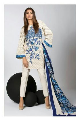 Pashmina Pakistani Off White And Blue Printed Suit With Pashmina Shawl