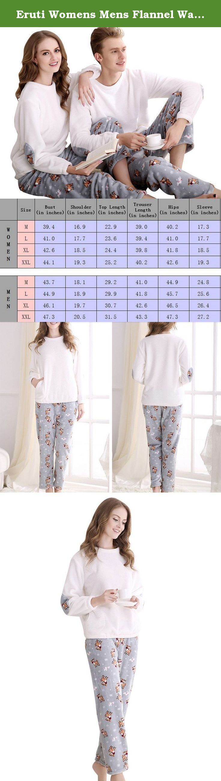 Eruti Womens Mens Flannel Warm Cute Animal Matching Couples Pajama Set White Medium. Perfect for sleeping and Lounging at home, soft and lightweight, the size chart in images is our standard size, please check them.