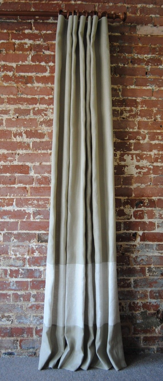 banded linen curtains