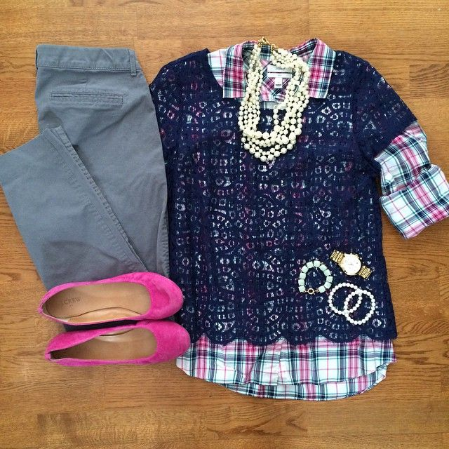 Navy Lace Top, Pink Plaid Shirt, Old Navy Pixie Pants, Pearl Necklace | #workwear #officestyle #liketkit | www.liketk.it/11OBG | IG: @whitecoatwardrobe