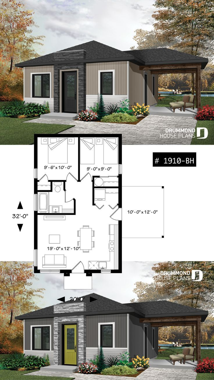 small affordable modern 2 bedroom home plan open kitchen