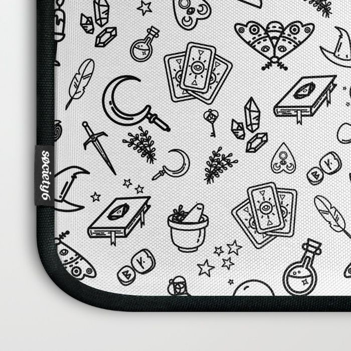 Modern Witch - White Laptop Sleeve by Erika Biro | Society6