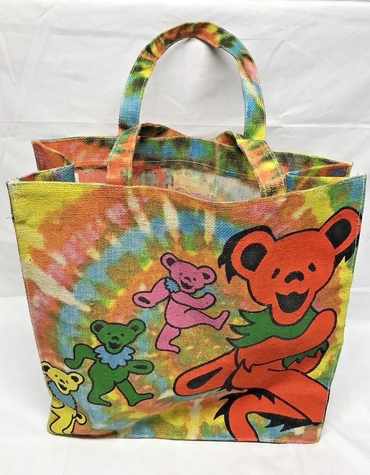 The Grateful Dead Dancing Bear 2010 Jute Tote Bag India Official Merch Burlap LG  | eBay