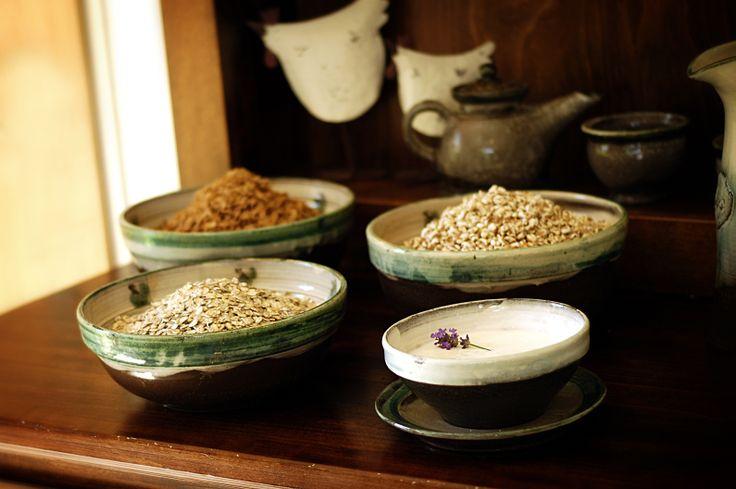 organic cereals, honey, yogurts,