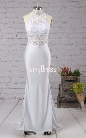 Silver Trumpet Mermaid High Neck Jersey Lace Sweep Train Beading Long Prom Dress