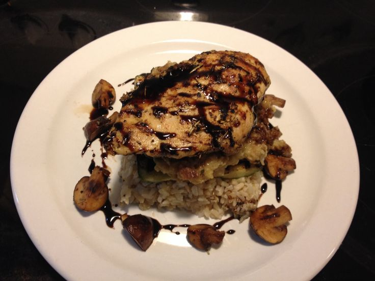 Herb Grilled Chicken Breast, Steamed Brown Rice, Grilled Zucchini, Sautéed Rosemary Cremini Mushrooms, Stuffing & Maple Strawberry Balsamic Reduction