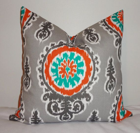 Cushion Colour Combinations: OUTDOOR Pillow Suzani Teal Orange Grey Deck Patio Pillow
