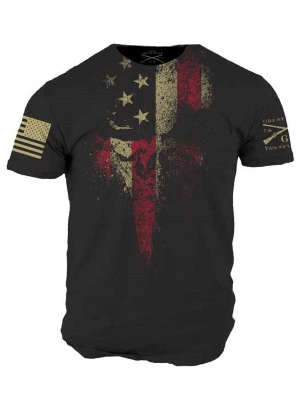American Reaper black tee with the Grunt Style logo on the left sleeve and  the American flag assaulting forwards on the right. Details: Black shirt  Ultra ...