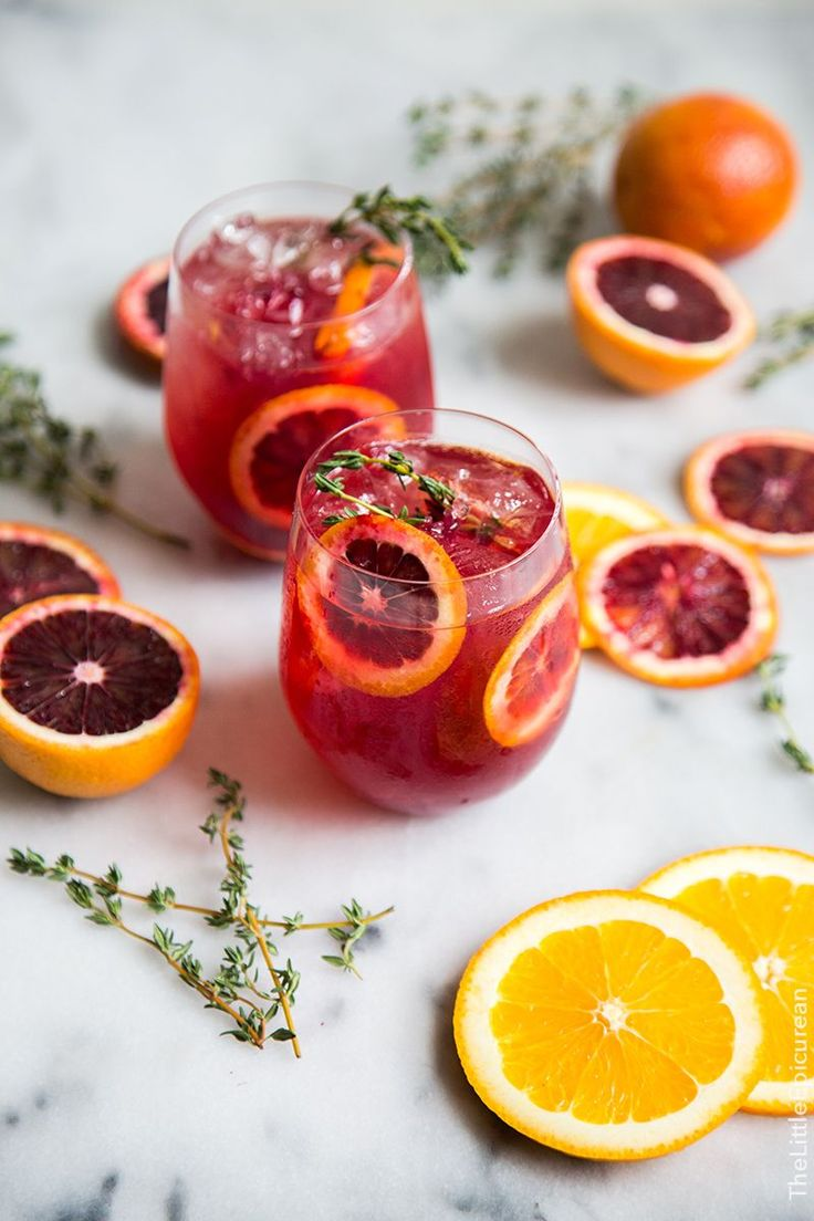Blood orange and thyme gin cocktail recipe.