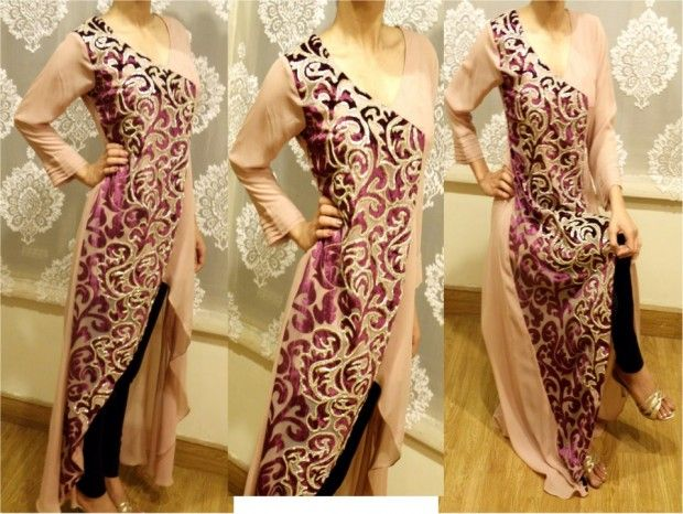 Skin And pink Noor Sahar Party Outfits Designs