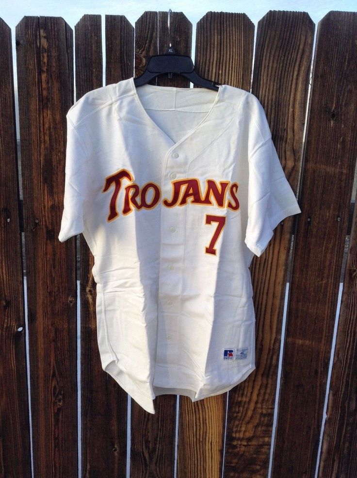RARE 90s USC / SC / Southern Cal Trojans Game Worn Home Baseball Jersey NICE!!!! please retweet