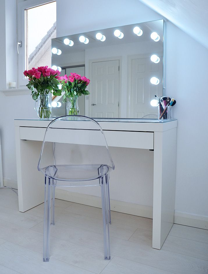 Makeup storage ideas ikea makeup storage malm dressing for Illuminated mirrors ikea