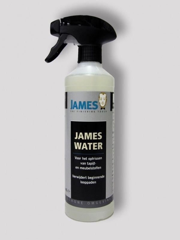 James Water is een onderhoudsmiddel voor de periodieke reiniging van uw tapijt, karpet en meubelstof. Het is geschikt voor alle materialen, zowel natuurlijk (zoals wol) als synthetisch.  Dit product biedt de volgende eigenschappen:  Reinigt storende looppaden op tapijt en karpet Verwijdert huidvetten; laat uw bank of stoel uitzien als nieuw Ook zeer geschikt voor de reiniging van uw autostoel, zoals hoofdsteun en middenarmsteun James Water is biologisch afbreekbaar en pH neutraal.