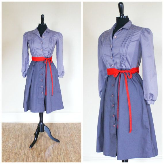 Vintage Caron Petite Dress Two Tone Grey Red by TempleKatVintage