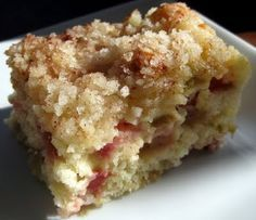 "Another pinner says: ""So here's the thing, if you have rhubarb in your yard, you need to drop whatever you're doing and make this.  Immediately.  If you don't feel this is for you, then bring me your rhubarb so I can make more.  I need to step away from the pan...Rhubarb Cake"""
