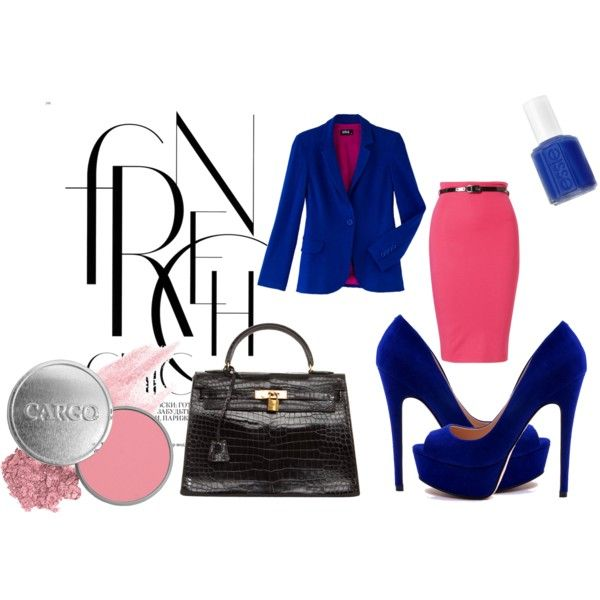 Pink pencil skirt with black and blue