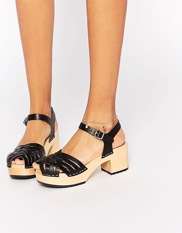 Image 1 ofSwedish Hasbeens Black Leather Marina Platform Sandals