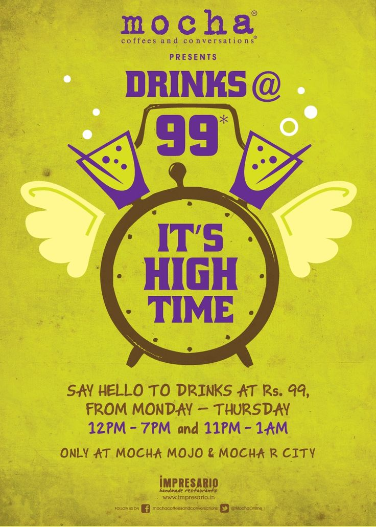 A happy high is just Rs.99 away. Drop in to Mocha Mojo & Mocha R City Mall.