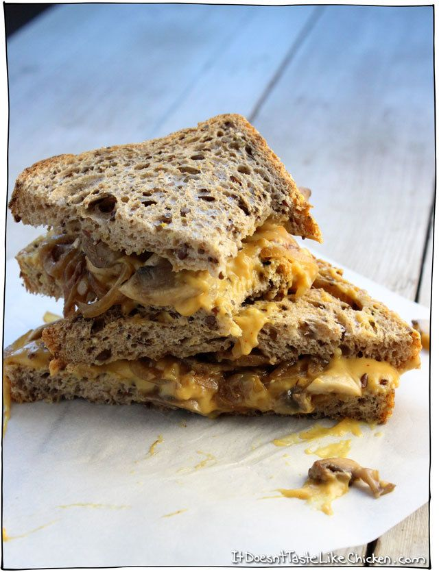 Vegan Caramelized Onion Mushroom Grilled Cheese Caramelized Onions Food Dairy Free Nacho Cheese