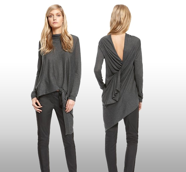 DKNY classic SILK CASHMERE LONG SLEEVE keeps you warm and trendy in winters. The stylish look at its back will make your not so good friends jealous of you.