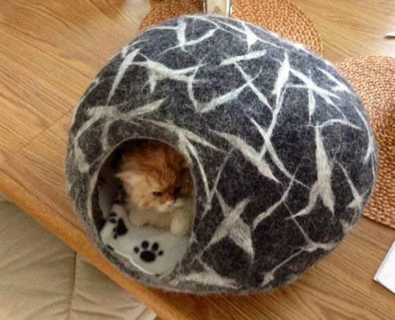 Cat Cave free snake or ball SMLXL Felted cat bed Felt by WarmArt