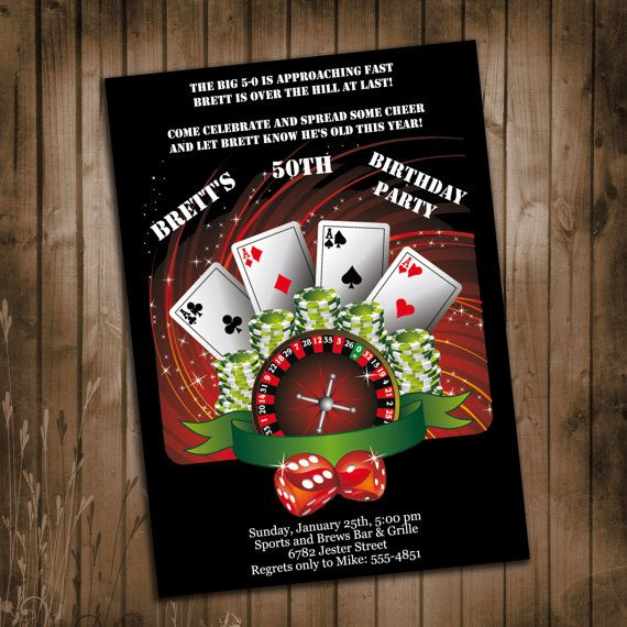 Casino Theme Birthday Party Invitation - Surprise Party ...
