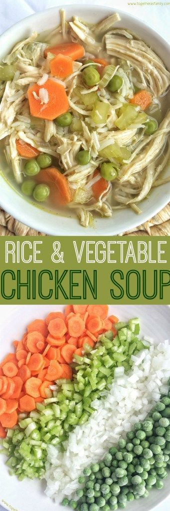 This rice & vegetable chicken soup is loaded with tender, shredded chicken, rice, and a good dose of vegetables all simmered in a fragrant broth.