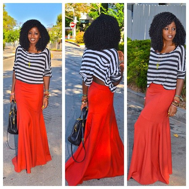 Love her style striped top and red skirt