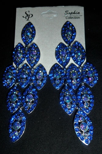Royal Blue Stone Pageant Prom Drag Earrings Retails 100 Stunning Nwt Ebay Pageants Pinterest And Jewelry