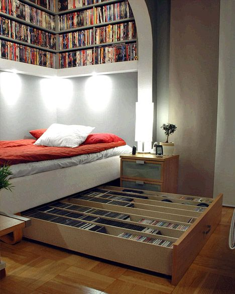 Love the underbed drawer! -- Book Storage in Tiny Houses