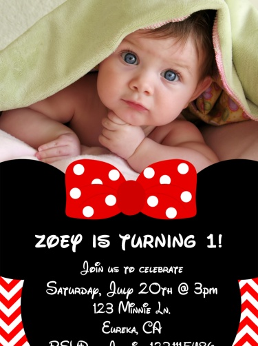 Minnie Mouse Birthday Party Invite with Photo, Red Chevron