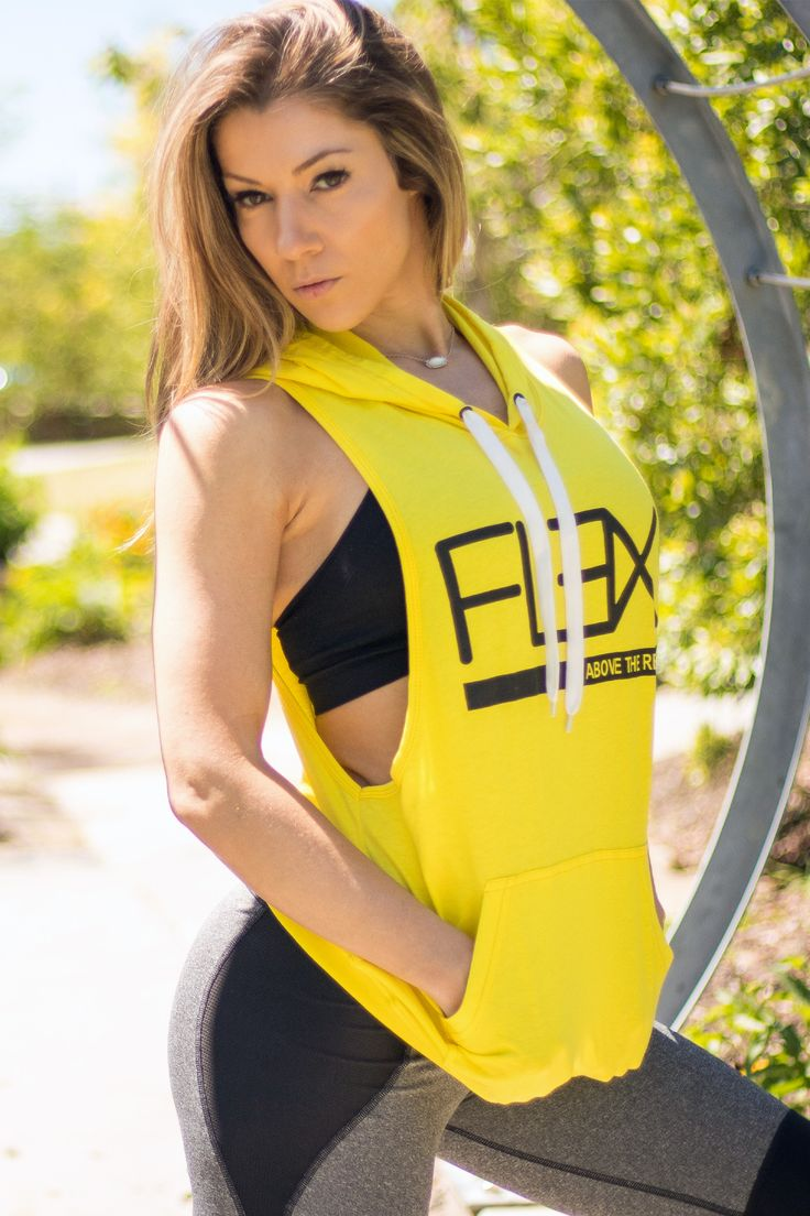Women's FitFlex Sleeveless Hoodie - Neon Yellow