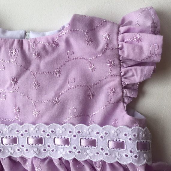 Purple Embroidered Baby Girl Dress with matching by SpirwellSewing