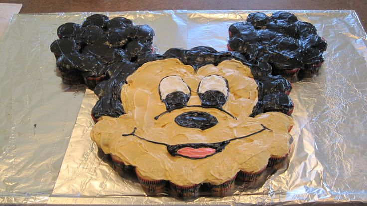 Mickey Mouse Cupcake Cake I made for Brady's 3rd Birthday