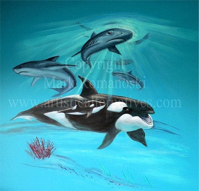 A fun underwater ocean mural painted for a boys room.