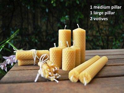 Handmade-Honeycomb-Rolled-Beeswax-Large-amp-Medium-Pillar-amp-Votives